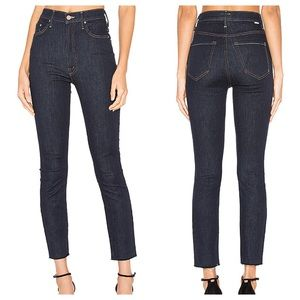 MOTHER the Swooner crop fray skinny jeans